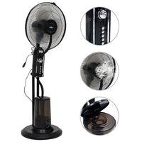 vidaXL Ventilator cu pulverizare ceață și piedestal, 3 viteze, negru