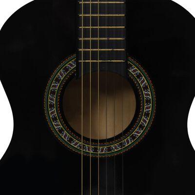 """vidaXL Set de chitară clasică începători, 8 piese, negru, 1/2 34"""""""