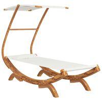 vidaXL Pat de plajă cu baldachin crem 100x198x150 cm, lemn masiv molid