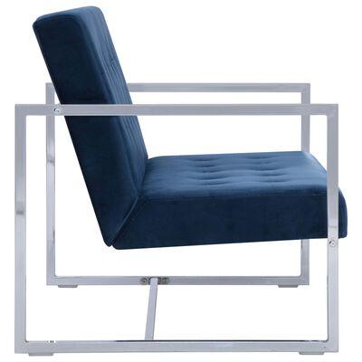 vidaXL Canapea cu 2 locuri cu brațe, albastru, crom și catifea