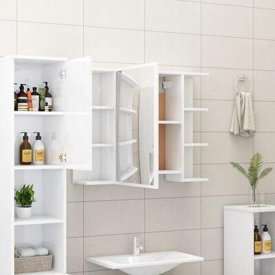 vidaXL Dulap de baie cu oglindă, alb extralucios, 80x20,5x64 cm, PAL
