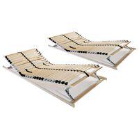 vidaXL Baze de pat cu șipci, 2 buc., 90 x 200 cm, 7 zone, 28 șipci