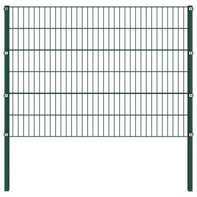 vidaXL Panou de gard cu stâlpi, verde, 13,6 x 1,2 m, fier