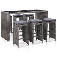vidaXL Set mobilier bar de grădină cu perne, 7 piese, gri, poliratan