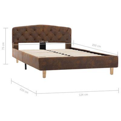 vidaXL Cadru de pat, maro, 120 x 200 cm, piele întoarsă ecologică