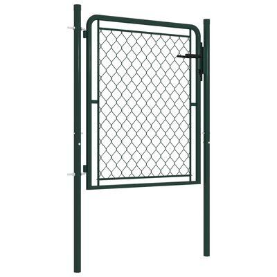 vidaXL Poartă de grădină, verde, 100 x 75 cm, oțel