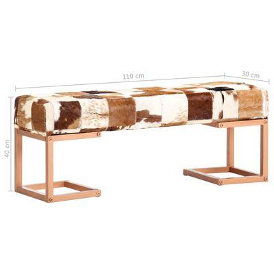 vidaXL Bancă, maro, 110 cm, piele naturală de capră, model petice