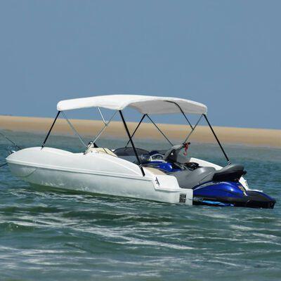 vidaXL Parasolar barcă Bimini cu 3 arcuri, alb, 183x160x137 cm