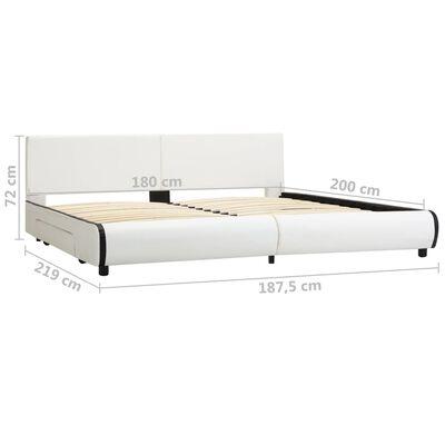 vidaXL Cadru de pat cu sertare, alb, 180 x 200 cm, piele artificială
