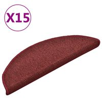 vidaXL Covorașe pentru trepte scară, 15 buc., roșu, 56x17x3 cm