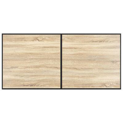 vidaXL Set de masă, 7 piese, maro închis, piele ecologică