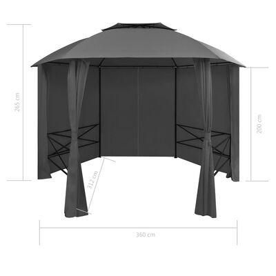 vidaXL Marchiză pavilion de grădină cu perdele, 360x265 cm, hexagonal
