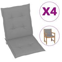 vidaXL Perne scaun de grădină, 4 buc., gri, 100 x 50 x 3 cm