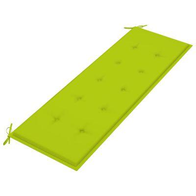 vidaXL Bancă de grădină, pernă verde aprins, 150 cm, lemn masiv de tec