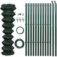vidaXL Gard din plasă cu stâlpi, verde, 1,5 x 15 m, oțel