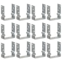 vidaXL Ancore de gard, 12 buc., argintiu, 12x6x15 cm, oțel galvanizat