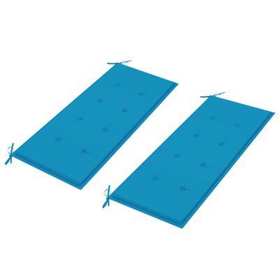 vidaXL Bancă de grădină cu perne albastre, 240 cm, lemn masiv tec