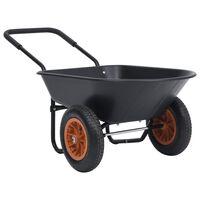 vidaXL Roabă, negru și portocaliu, 78 L, 100 kg
