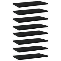 vidaXL Plăci pentru bibliotecă, 8 buc., negru, 40 x 20 x 1,5 cm, PAL