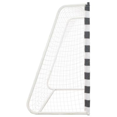 vidaXL Poartă de fotbal, negru și alb, 300 x 160 x 90 cm, metal