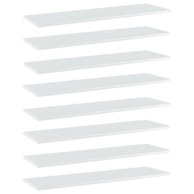 vidaXL Plăci bibliotecă, 8 buc., alb extralucios 100 x 30 x 1,5 cm PAL