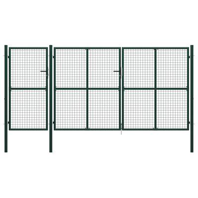 vidaXL Poartă de grădină, verde, 400 x 175 cm, oțel