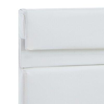 vidaXL Cadru de pat cu LED, alb, 140 x 200 cm, piele ecologică