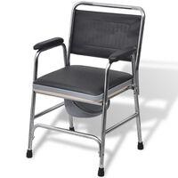 vidaXL scaun cu toaletă din oțel, negru