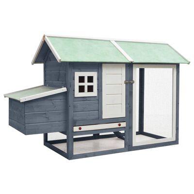 vidaXL Coteț de păsări, gri, 170 x 81 x 110 cm, lemn masiv pin & brad