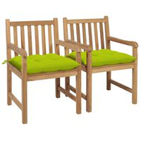 vidaXL Scaune de grădină cu perne verde aprins, 2 buc., lemn masiv tec