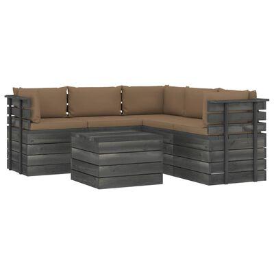 vidaXL Set mobilier grădină din paleți cu perne, 6 piese, lemn pin