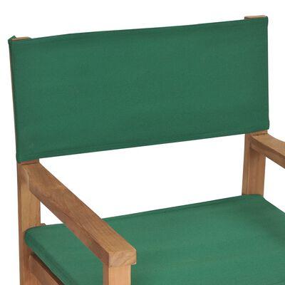 vidaXL Scaun de regizor, verde, lemn masiv de tec