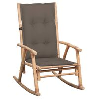 3063926 vidaXL Rocking Chair with Cushion Bamboo (41894+314257)