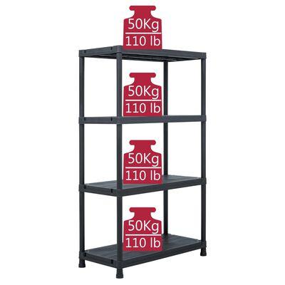 vidaXL Raft de depozitare, negru, 80 x 40 x 138 cm, plastic, 200 kg