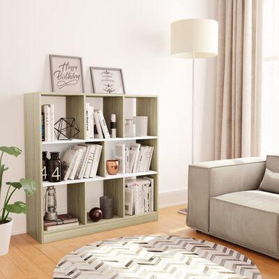 vidaXL Bibliotecă, alb și stejar Sonoma, 97,5 x 29,5 x 100 cm, PAL