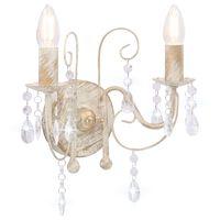 vidaXL Lampă de perete cu mărgele, alb antichizat, 2 becuri x E14