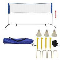 vidaXL Set fileu de badminton, cu fluturași, 300x155 cm