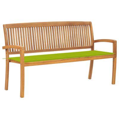 vidaXL Bancă de grădină stivuibilă cu pernă, 159 cm, lemn masiv de tec
