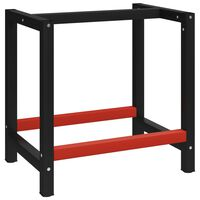 vidaXL Cadru metalic banc de lucru, 80x57x79 cm, negru și roșu