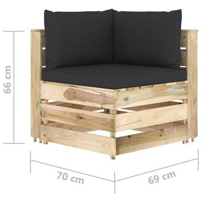 vidaXL Set mobilier grădină cu perne, 4 piese, lemn tratat verde