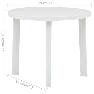 vidaXL Masă de grădină, alb, 89 cm, plastic