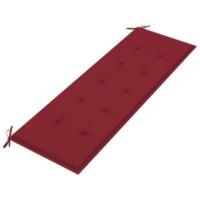 vidaXL Bancă de grădină, cu pernă roșu vin, 150 cm, lemn masiv de tec