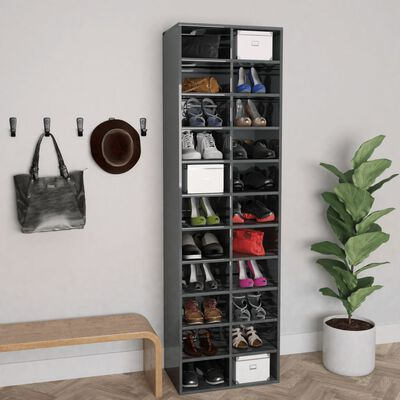 vidaXL Pantofar, gri extralucios, 54x34x183 cm, PAL