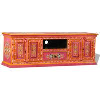 vidaXL Comodă TV, lemn masiv de mango, pictată manual, roz