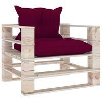 vidaXL Canapea de grădină din paleți cu perne roșu vin, lemn de pin