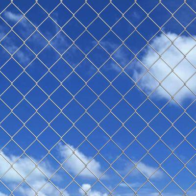 vidaXL Gard din plasă cu stâlpi, argintiu, 15 x 0,8 m, oțel galvanizat