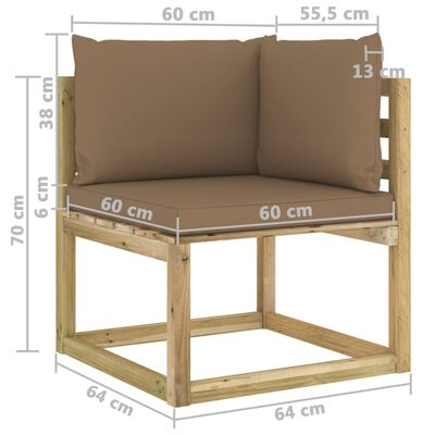 vidaXL Set mobilier de grădină cu perne, 9 piese, lemn de pin tratat