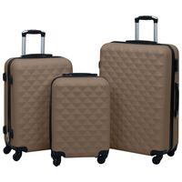 vidaXL Set de valize cu carcasă rigidă, 3 piese, maro, ABS