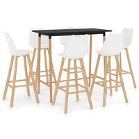 vidaXL Set mobilier de bar, 7 piese, alb