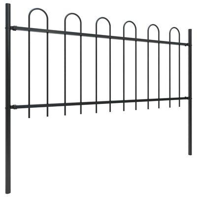 vidaXL Gard de grădină cu vârf curbat, negru, 15,3 x 0,8 m, oțel
